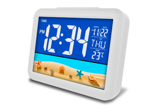 JunChang 12-Inch Smart LCD Color Screen Clock Large Screen Electronic Clock Child Student Bedside Alarm Clock-Yellow