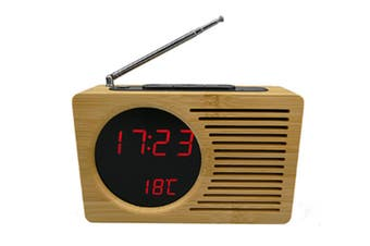 JunChang 6-Inch Smart Bamboo LED Clock FM Radio Electronic Alarm Clock with Temperature Display-Red