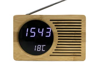 JunChang 6-Inch Smart Bamboo LED Clock FM Radio Electronic Alarm Clock with Temperature Display-White