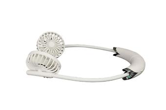 JunChang Household Detachable Hanging Neck Fan Portable USB Small Fan Hand-held Petal Rotating Folding Fan-White
