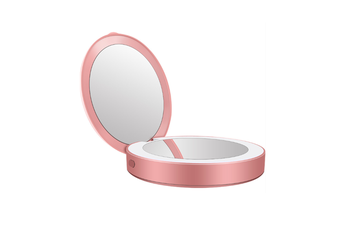 JunChang Portable LED Mobile Power Makeup Mirror Round Makeup Mirror with Light Pocket Folding Beauty Mirror-Pink