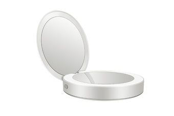 JunChang Portable LED Mobile Power Makeup Mirror Round Makeup Mirror with Light Pocket Folding Beauty Mirror-White