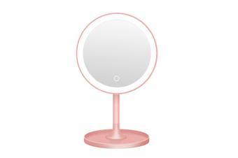 JunChang LED Makeup Mirror Desktop Lighted Rechargeable Makeup Mirror LED Round Fill Light Makeup Table Mirror-Pink