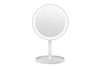 JunChang LED Makeup Mirror Desktop Lighted Rechargeable Makeup Mirror LED Round Fill Light Makeup Table Mirror-White