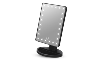 JunChang Square Desktop LED Makeup Mirror 24 Lights Touch Screen Dimming Lighted Mirror Makeup Mirror-Black