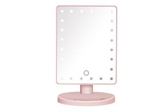 JunChang Square Desktop LED Makeup Mirror 24 Lights Touch Screen Dimming Lighted Mirror Makeup Mirror-Pink