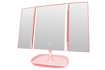 JunChang 3 Fold Illuminated Mirror 3 Sides 10x Dressing Magnifying Glass Desktop Touch Electrodeless Dimming LED Lamp Mirror-Pink