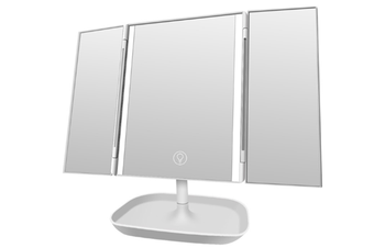 JunChang 3 Fold Illuminated Mirror 3 Sides 10x Dressing Magnifying Glass Desktop Touch Electrodeless Dimming LED Lamp Mirror-White