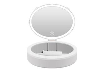 JunChang Creative Rechargeable Makeup Box Fill Light Mirror LED Makeup Mirror Desktop Fill Light Makeup Lamp Dressing Mirror-White