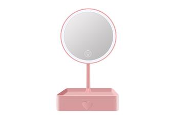 JunChang Desktop LED Makeup Mirror Dressing Mirror Beauty Makeup Dormitory Fill Light Desktop Mirror with Light and Storage Box-Pink