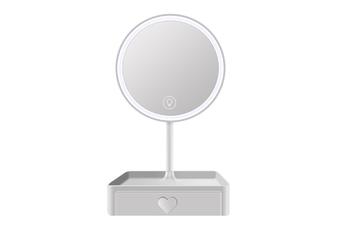 JunChang Desktop LED Makeup Mirror Dressing Mirror Beauty Makeup Dormitory Fill Light Desktop Mirror with Light and Storage Box-White