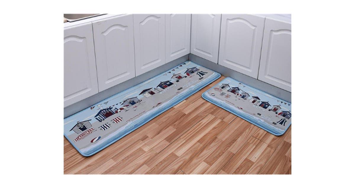 Junchang 2pcs Kitchen Carpet Floor Mat Bathroom Printing Stripe Cartoon Floor Mat Non Slip Door Mat Bath Mat 8 Matt Blatt