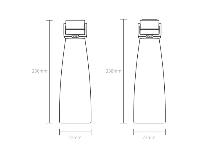 JunChang 475ml Insulated Water Cup Super Long-term Outdoor Travel Portable Water Bottle with Zinc Alloy Lifting Ring-Grey