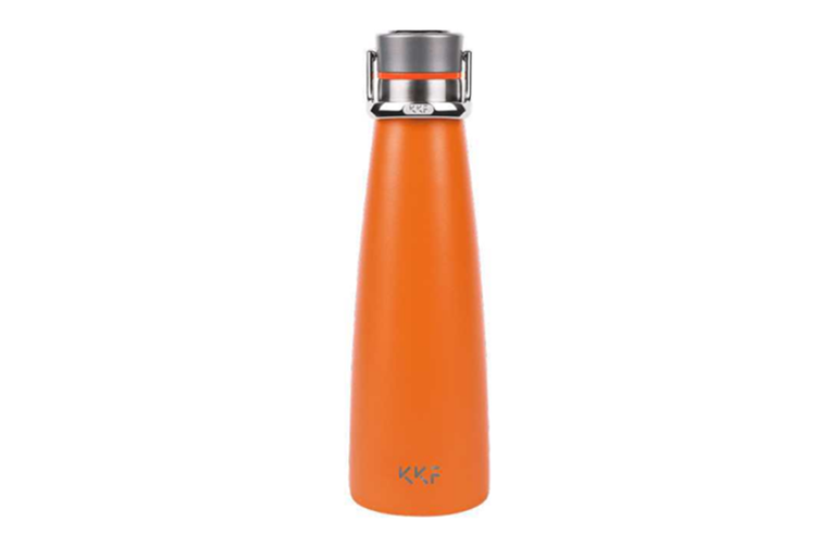 JunChang 475ml Insulated Water Cup Super Long-term Outdoor Travel Portable Water Bottle with Zinc Alloy Lifting Ring-Orange