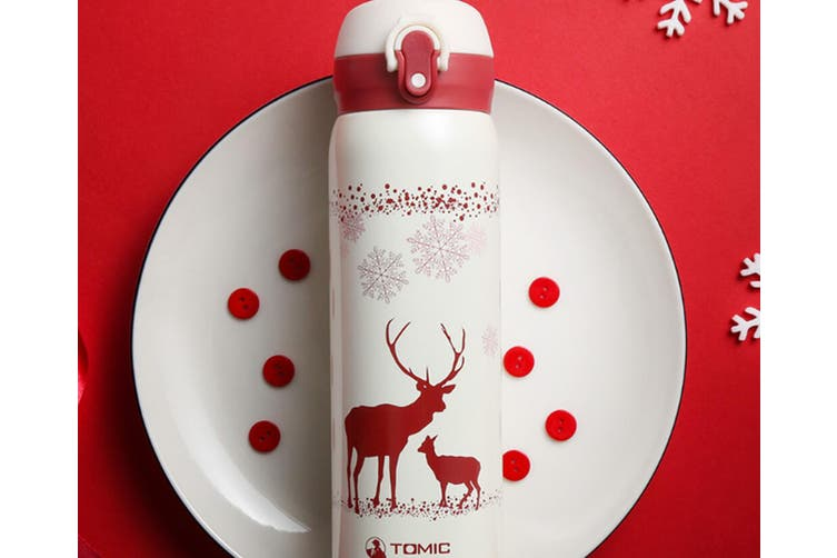 JunChang 500ml Cute Snowflake Double Layer Stainless Steel Vacuum Flask Outdoor Travel Simple and Stylish Vacuum Flask-White