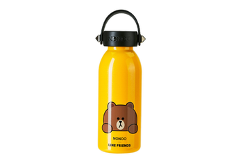 JunChang 360ml Large Capacity Stainless Steel Cartoon Vacuum Flask Sports Bottle Suitable for Children Outdoor Travel-Yellow