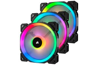 Corsair LL Series, LL120 RGB, 120mm Dual Light Loop RGB LED PWM Fan, 3 Fan Pack with Lighting Node PRO [CO-9050072-WW]