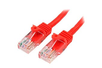 StarTech 0.5m Red Cat5e Ethernet Patch Cable - Snagless