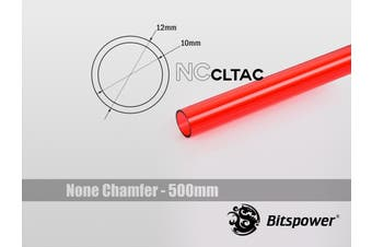 Bitspower None Chamfer Crystal Link Tube OD 12MM - Length 500mm (ICE Red)