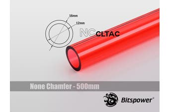 Bitspower None Chamfer Crystal Link Tube OD 16MM - Length 500MM (ICE Red)