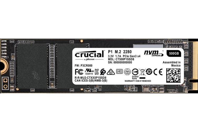 Crucial P1 500GB 3D NAND NVMe PCIe M.2 SSD [CT500P1SSD8]