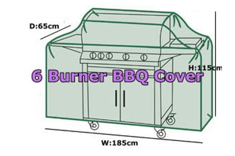 Prestige 600D Oxford Grey 6 Burner 185cm(w)x65cm(d)x115cm(h) Outdoor Gas BBQ Barbecue Cover Rain Dust UV Protection