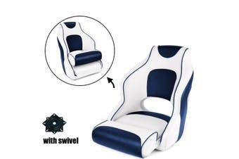 Kaiser Boating Deluxe Flip-up Bolster Bucket Helm Sport Captain's Chair Boat Seat White/Blue