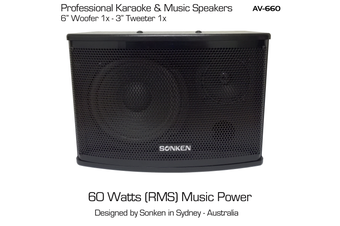"Sonken AV-660 (6"") Passive Music & Karaoke Speakers - 60 Watts x2 (RMS)"