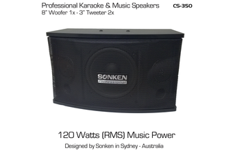 "Sonken CS-350 (8"") Passive Music & Karaoke Speakers - 120 Watts x2 (RMS)"