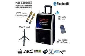 Sonken Max Karaoke Portable System + Mini Tripod Stand (Inc. 2 Wireless Microphones)