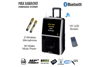 """Sonken Max Karaoke Portable System with 15"""" LCD + 2 Wireless Microphones + Wired Screen Share"""