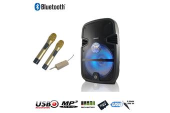 Panacom S-10 Sound Stage Bluetooth Karaoke Powered Speaker (20 Watts - RMS) + 2 UHF Wireless Microphones
