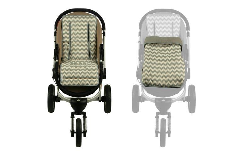 Keep Me Cosy® Pram Liner + Footmuff 2 in 1 Set (Infant) - Grey Chevron