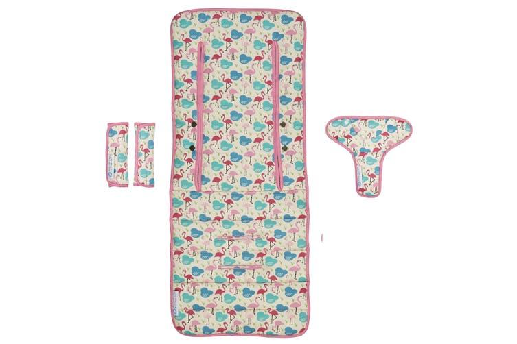 Keep Me Cosy® Universal Pram Liner Set + Harness Covers- Flamingo