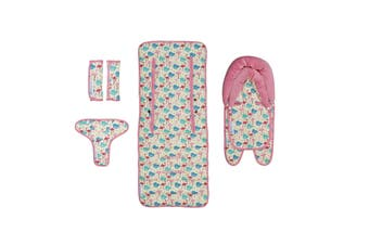 Keep Me Cosy® Baby Pram Liner Set + Head Support & Harness Covers - Flamingo