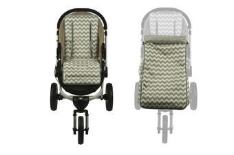 Keep Me Cosy® Pram Liner + Footmuff 2 in 1 Set (Toddler) - Grey Chevron