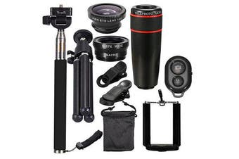 10 in 1 Smartphone Camera Lens Cell with Clip Universal Optical Telescope Kit Mobile Zoom 8BLACK