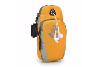 5.5 Inch Sports Running Arm Phone Bag Pouch With Earphone Hole For iphone 7 Plus 6s Plus ORANGEYELLOW