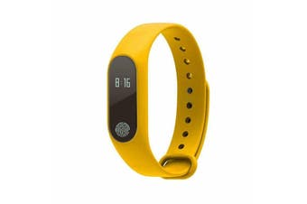 M2 0.42in Touch Screen Waterproof Smart Watch Heart Rate Monitor Pedometer Sports Bracelet Fitness Tracker YELLOW