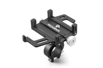 Phone Width 55-95mm Adjustable Full Aluminium MTB Bicycle Phone Holder Motorcycle Support Anti-vibration GPS Mount For Bike Handlebar BLACK