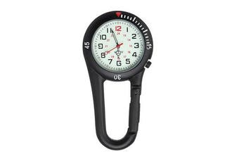 Black Clip on Carabiner with Rotating Bezel Luminous Face for Nurse Doctor Watch