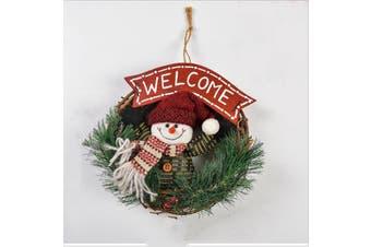 20cm Christmas Wreath for Front Door Hang Garland with Snowman Ornaments Natural Rattan Wreath Holiday Door Hanger