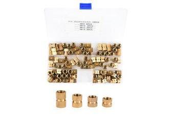 M8 120Pcs M8 Brass Cylinder Knurled Threaded Nut Round Insert Embedded Nuts Assortment Set