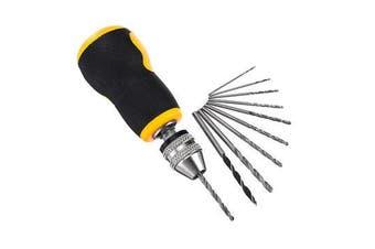 0.5-3.2mm Mini Hand Drill Micro Drill Keyless Chuck with 10pcs Drill Bits