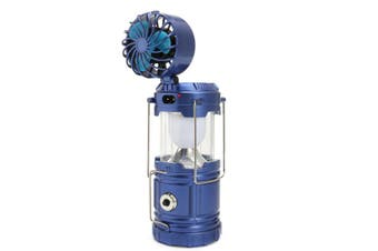 3 In 1 Solar Camping Tent Fan Lantern USB Rechargeable Flashlight Torch Portable Hand Lamp BLUE
