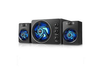 D-209 Mini Portable bluetooth 2.1 channel Subwoofer Colorful Lights Computer Speaker for Desktop Laptop TV PC BLACK