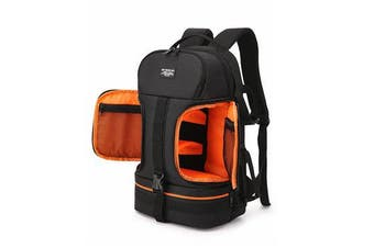 Side Open Travel Carry Camera Bag Backpack for Canon for Nikon DSLR Camera Tripod Lens Flash Tablet Laptop Pad ORANGE