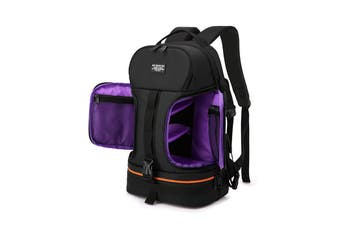 Side Open Travel Carry Camera Bag Backpack for Canon for Nikon DSLR Camera Tripod Lens Flash Tablet Laptop Pad PURPLE