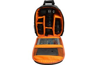 Water-resistant Shockproof Travel Carry Camera Bag Backpack for Canon for Nikon DSLR Camera Tripod Lens Flash ORANGE