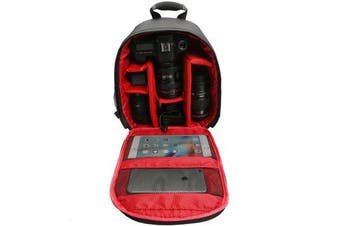 Water-resistant Shockproof Travel Carry Camera Bag Backpack for Canon for Nikon DSLR Camera Tripod Lens Flash RED